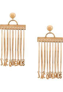 Jacquemus Logo Hoop Earrings - Dourado