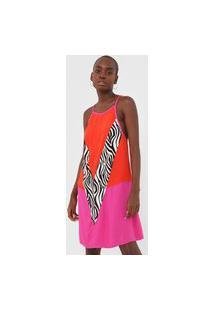 Vestido Triton Curto Zebra Vermelho/Rosa