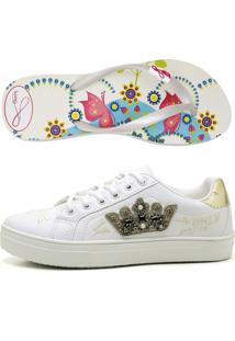 Kit Tenis Top Franca Shoes Chinelo Sandalia Rasteirinha Brinde
