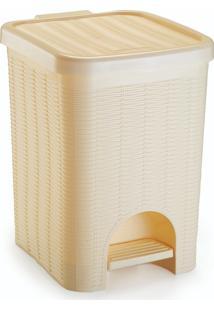Lixeira Para Banheiro De Plástico 12 Litros Com Pedal Creme