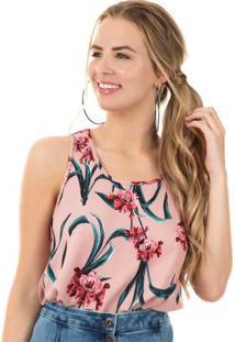 Blusa Com Estampa Floral Rosa