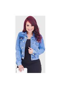Jaqueta Femininas Jeans Basica Simples Azul Botão