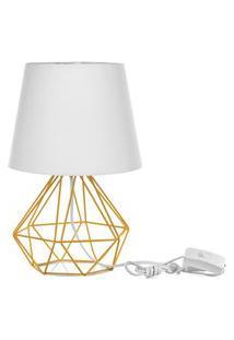 Abajur Diamante Dome Branco Com Aramado Amarelo
