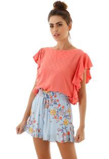 Shorts Aha Xadrez Com Flores Azul