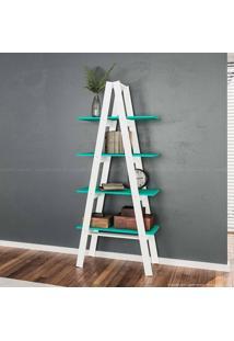 Estante Escada Book 180 X 77 X 33 Branco/Turquesa - Urbe Móveis