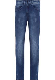 Calça Jeans Masculina Five Pockets Slouchy Skinny - Azul