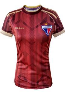 Camisa Feminina Baby Look Escudetto Fortaleza 2020 Oficial Escudo Bordado Vermelha Dourado