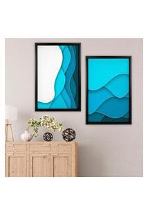 Quadro Com Moldura Chanfrada Abstrato Azul Preto - Médio
