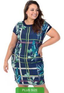 Vestido Com Estampa Tropical Azul
