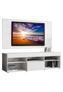 Rack Com Painel Para Tv Até 65 Polegadas Madesa Miami 1 Porta Branco