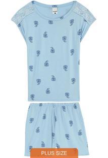 Pijama Azul Arabesco Em Viscose Plus