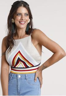 Top Cropped Feminino Frente Única Triângulos Em Tricô Kaki