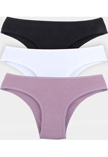 Kit Calcinha Elegance Cotton 3 Peças - Feminino-Preto+Branco