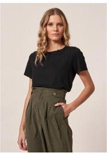 Camiseta Malha Bordado Folhas - Feminina - Feminino