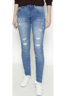 Jeans Marisaâ® Skinny Com Destroyed- Azul Claro- Foruforum