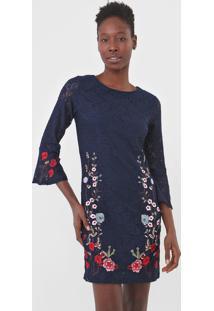 Vestido Desigual Curto Vermond Azul-Marinho - Kanui