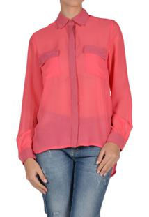 Camisa Marcia Mello Chiffon Emm Cannes Pink