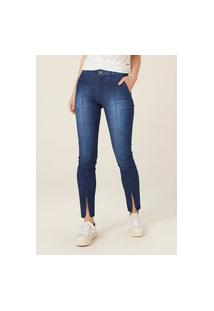Calça Jeans Skinny Cintura Alta Com Recorte - Azul