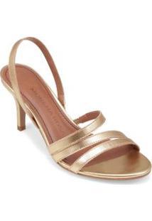 Sandalia Salto Medio Tiras A Fio Dourado