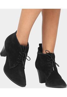 Bota Couro Cano Curto Shoestock London Fog - Feminino-Preto