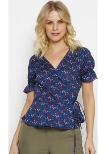 Blusa Floral Com Amarraã§Ã£O- Azul Escuro & Azul- Vip Vip Reserva
