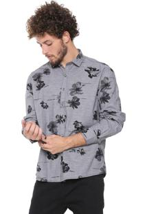 Camisa Ellus Reta Digital Flowers Cinza