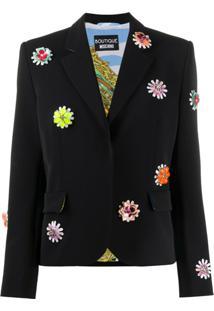 Boutique Moschino Blazer Com Bordado Floral - Preto