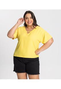 Blusa Plus Size Genebra Feminina Secret Glam Amarelo - Tricae