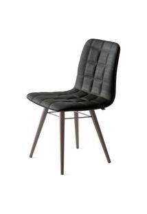 Cadeira Quadra Assento Estofado Linho Preto Com Base Tabaco - 46883 Preto