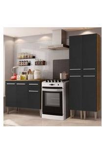 Cozinha Compacta Madesa Emilly Front Com Balcão E Paneleiro - Rustic/Preto Cor:Rustic/Preto