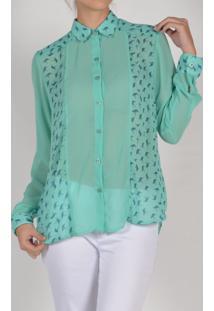 Camisa Marcia Mello Mmf Chiffon Prada Verde