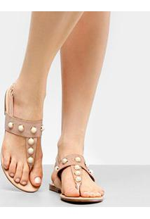 Rasteira Look Fashion Multi Pérolas - Feminino-Nude