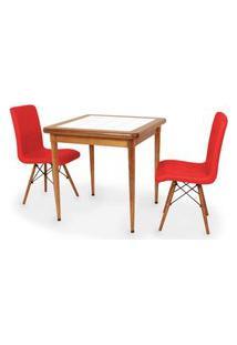 Conjunto Mesa De Jantar Em Madeira Imbuia Com Azulejo + 2 Cadeiras Gomos - Vermelho