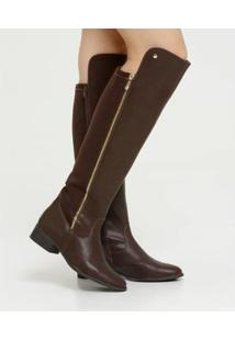 Bota Via Marte Over The Knee Feminina - Feminino-Marrom