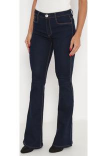 Jeans Flare Com Pespontos- Azul Escuro- Ennaenna