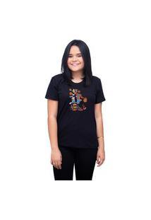 Camiseta T-Shirt Feminina Personalizada Space Jam Looney Tunes - Preto
