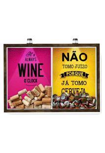 Quadro Caixa 33X43 Cm Porta Rolha Vinho E Tampinha Cerveja (2 Em 1) - Com Led Nerderia E Lojaria Wine Oclock E Juizo Madeira