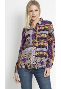 Camisa Com Botãµes- Roxa & Amarela- Intensintens