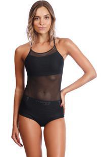 Body Bonna Forma Contrastante Tela Com Hot Pant - Kanui