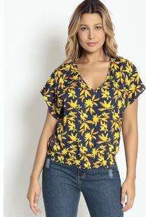 Blusa Texturizada Com Elástico - Azul Marinho & Amarela