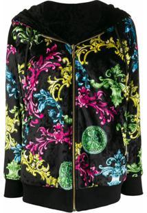 Versace Jeans Couture Jaqueta Com Estampa Barroca E Zíper - Preto