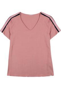 Blusa Em Viscose Com Decote V Rosa