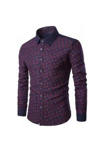 Camisa Masculina Texturizada Y509 - Azul E Vermelha
