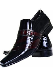 Sapato Social Verniz Gofer Couro - Masculino-Preto+Vinho
