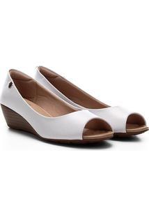 Peep Toe Modare Anabela - Feminino-Branco