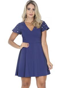 230e5b2d5 R$ 89,90. Dafiti Vestido Azul Marinho Curto Decote V Gode Alfaiataria Ilhós  Detalhe ...