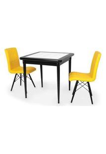 Conjunto Mesa De Jantar Em Madeira Preto Prime Com Azulejo + 2 Cadeiras Gomos - Amarelo