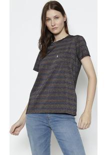 Camiseta Listrada Com Fios Metalizados- Azul Marinho & Rlevis