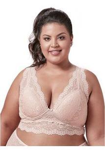 Sutiã Cropped Em Renda Dukley Lingerie Plus Size Feminino - Feminino-Bege Claro