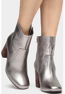 Bota Couro Shoestock Bico Quadrado Feminina - Feminino-Prata